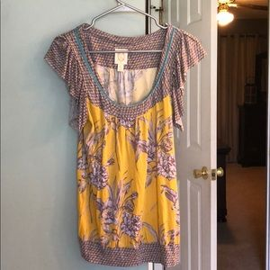 Anthropologie ric rac sz small floral top